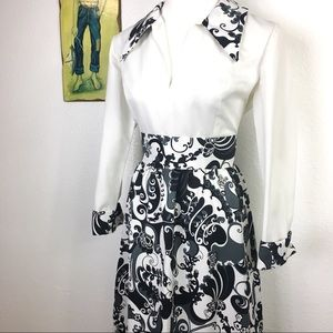 Vintage 1970s Black & White Paisley Maxi Dress